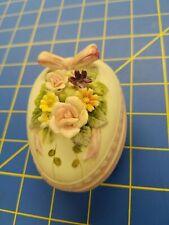 Vintage Lefton #Kw4741 Lidded Decorated 3D Floral Easter Egg or Trinket Box