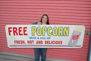 """Vintage 1960's Free Hot Popcorn With A Fill-Up Gas Station 71"""" Metal Sign"""
