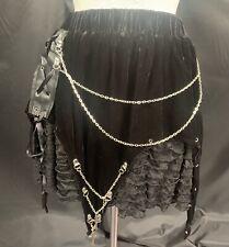 Steampunk Gothic Lush Black Velvet  Mini Skirt By Raven
