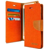 iPhone 7 and 8 Genuine MERCURY Goospery Orange Canvas Flip Case Wallet Cover