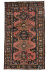Vintage Tribal Oriental Hamadan Rug, 4'x7', Red/Blue, Hand-Knotted Wool Pile