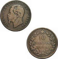 Italien Vittorio Emanuele II 10 Centesimi 1866 H Birmingham Italia KM # 11.3