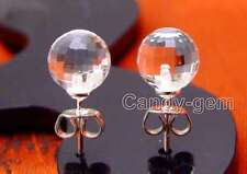 SALE Small 8mm White Round Natural faceted Crystal Earring & Silver stud-ear436