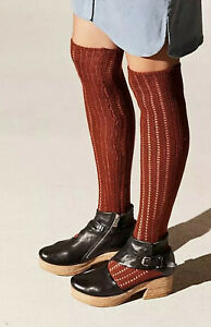 NWT Free People Woodland Over The Knee High Socks One Size 9-11 Rust Terra-cotta