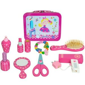 Wooden Children's Hairdressers Vanity Case Beauty Set In Tin Carry Case
