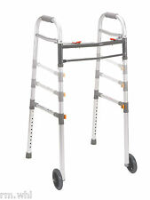 "Light 2 Button Folding Wheeled Walker with 5"" Rolling Wheels Drive Medical Drive"