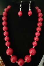 Vintage red glass with green spacers - necklace and earrings set
