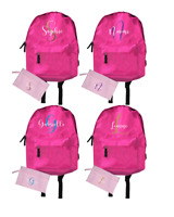 Personalised Backpack Pink Glitter Custom Bag School Sparkle PE Sports