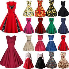 Women Vintage Style 1950s Retro Rockabilly Casual Evening Party Swing Dress 6-18