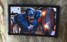 Captain America Shield Morale Patch Military Tactical Army Flag USA Hook Badge
