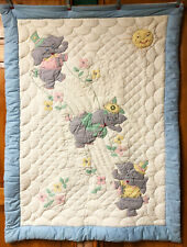 Vintage Baby Quilt Blanket Hand Applique & Embroidery Elephants Fine Quality EUC