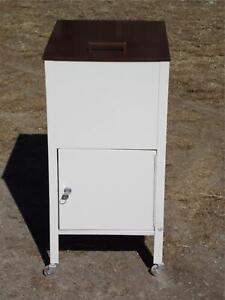 Vintage Industrial Mid Century Modern Metal Rolling Locking File Cabinet