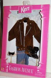 1995 Ken Barbie Fashion Avenue #14679 Leather Jacket Jeans Outfit Boots NRFB