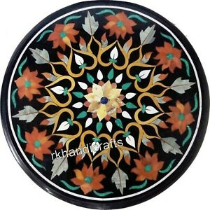 18 Inches Marble Coffee Table Top Inlay Multi Color Stones Bed Side
