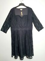 LINDY BOP (UK Size 26) Black Lace Vintage Style Tea Swing Dress - 3/4 Sleeves
