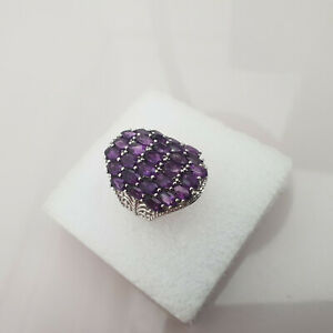 Stunning 10ct Lusaka Amethyst Cluster  Ring in Platinum Over Sterling Silver