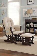 Hoop Glider And Ottoman Set, Espresso/Beige Stork Craft Chair Rock Root Rest Mid