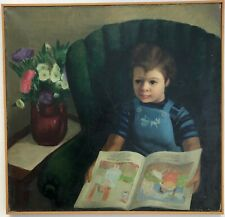 Little Girl Reading Fairy Tales Oil Painting-1940-August Mosca