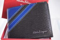 New Salvatore Ferragamo Men's Wallet Credit Card Case Holder Black Leather