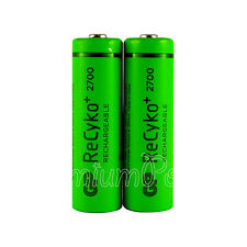 2 x GP ReCyko+ AA batteries 2700 Series rechargeable 2600mAh 1.2V NiMH HR6 LR6