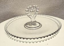 Vintage Serving Trap Platter Glass Candlewick imperial glass Heart Handle 12""
