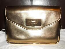 "CHLOE ""Sally"" Metallic Gold Leather Flap Chain Handle Framed Shoulder Bag Clutch"