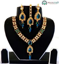 Party wear CZ stone gold plated jewelry set ,Rhinestone jewellery, Gift for Her