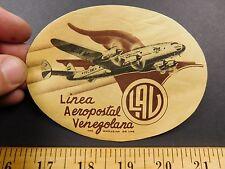 1930s-40s Linea LAV Venezuelan AirlinesTravel Luggage Label Sticker Airplane