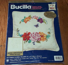 """14"""" Bucilla Butterfly FLORAL Pillow Stamped Crewel Embroidery Kit Candlewicking"""