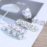 1:12 Doll House furniture tableware 15 PCS dolls ceramic miniature tea sets JR