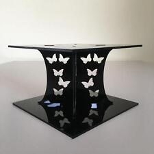 Butterfly Design Square Wedding/Party Cake Separators - Black Acrylic