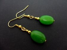 A PAIR OF OVAL GREEN JADE BEAD DANGLY  EARRINGS. NEW.