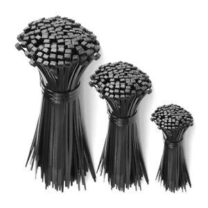 Black Wire Cable Zip Ties UV Resistant Nylon Tie Wraps Self Locking 100 Packs 1