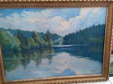 Öl Gemälde Waldsee von Joseph Egger 1897-1969, Goldrahmen, 90 x 65 cm