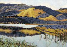 "Gordon Mortensen ""Foothills"" Hand Signed Color Woodcut Art Print 1978 matted"