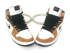 Hand Painted Retro OG Pair of 3D Mini Shoe Keychains with Box White Tan Black