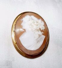 ANTIQUE OR VINTAGE 9k 9 CARAT GOLD SHELL CAMEO BROOCH PIN / PENDANT, SOLID GOLD
