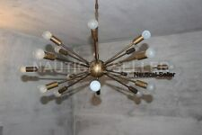 Mid Century Modern Antique Brass Sputnik Chandelier light fixture 18 Lights