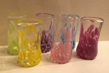 ☀6 PASTEL COLOR INFUSED☀SHOT GLASSES ART DECO BLOWN UNIQUE