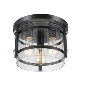 Globe Electric 60417 Wexford 3-Light Flush Mount Ceiling Light, Dark Bronze,