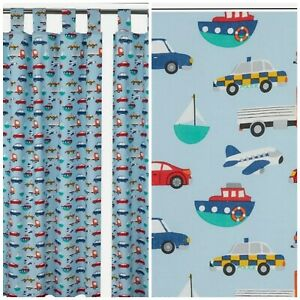 Kids Boys Transport Powder Blue Nursery Curtains Tab Top 168x137cm
