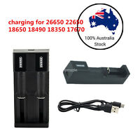 2X USB Lithium Battery Charger For 14500 18650  26650 1 Slo&2 Slots