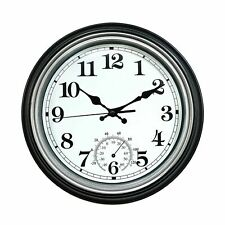 12-Inch Indoor/Outdoor Retro Silent Non-Ticking Waterproof Wall Clock with Th...