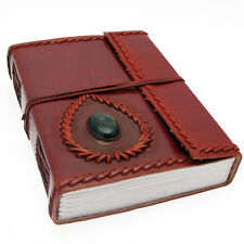 Fair Trade Handmade Eco Large Stoned Leather Journal Notebook Diary 2nd Quality