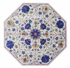 "12"" Coffee Side Table Top Lapis Lazuli  Floral Inlaid Home Decor Gifts"