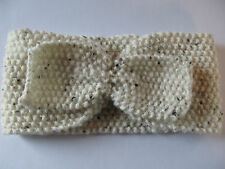Hand Knitted Wide Headband with Bow: Cream with Brown Fleck, by Knitted Nature