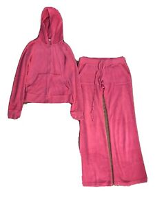 Juicy Couture Velour Tracksuit Hoodie L Full Zip Up Pants M Casual Lounge Womens