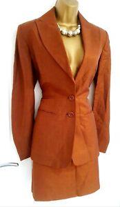 Exquisite KAREN MILLEN size 10 12 shimmer smart 2 piece skirt suit Linen blend