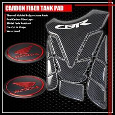 FOR CBR FAIRING/FENDER BADGE CHROME RED+REAL CARBON FIBER GAS TANK PAD PROTECTOR