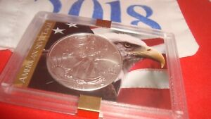 2018 American Silver Eagle 1oz 99.9% SILVER  EAGLE & FLAG Design Case & Pouch B4